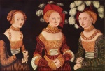 Lucas Cranach - paintings - Saxon Princesses Sibylla, Emilia and Sidonia
