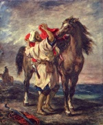 Eugene Delacroix - paintings - A Moroccan Saddling A Horse