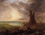 Thomas Cole - paintings - Romantische Landschaft mit Turmruine