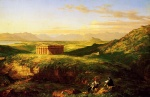 Thomas Cole  - paintings - The Temple of Segesta with the artist sketching