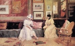 William Merritt Chase - Bilder Gemälde - A Friendly Call