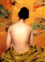 William Merritt Chase - Bilder Gemälde - Back of a Nude