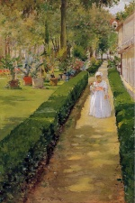William Merritt Chase - Bilder Gemälde - Child on a Garden Walk