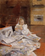 William Merritt Chase - Bilder Gemälde - Child with Prints