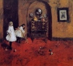 William Merritt Chase - Bilder Gemälde - Children Playing Parlor Croquet (Sketch)