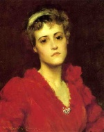 William Merritt Chase  - Bilder Gemälde - The Red Gown