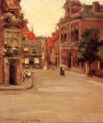 William Merritt Chase  - Bilder Gemälde - Eine Straße in Holland (The Red Roofs of Haarlem)