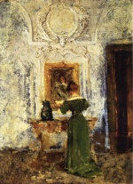 William Merritt Chase  - Bilder Gemälde - Lady in Green