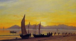 Albert Bierstadt - paintings - Boats Ashore at Sunset