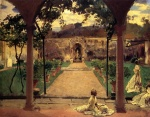 John Singer Sargent  - Bilder Gemälde - At Torre Galli Ladies in a Garden
