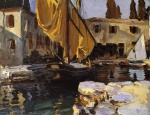 John Singer Sargent  - Bilder Gemälde - Boat with the Golden Sail San Vigilio