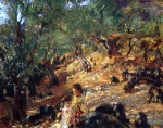 John Singer Sargent  - Bilder Gemälde - Ilex Wood at Majorca with Blue Pigs