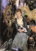 John Singer Sargent  - Bilder Gemälde - Miss Reubell Seated in Front of a Screen