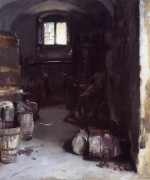 John Singer Sargent  - paintings - Pressing the Grapes Florentine Wine Cellar