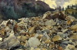 John Singer Sargent  - paintings - Purtund Alpine Scende an Boulders
