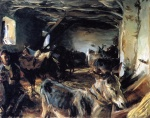 John Singer Sargent  - paintings - Stable at Cuenca