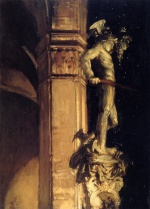 John Singer Sargent  - paintings - Statue of Perseus by Night