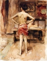 John Singer Sargent  - paintings - The Model Interior with Standing Figure