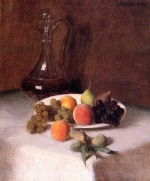 Bild:A Carafe of Wine and Fruit on a White Tablecloth
