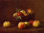 Henri Fantin Latour - Bilder Gemälde - Apples in a Basket on a Table