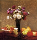 Henri Fantin Latour - Bilder Gemälde - Asters and Fruit on a Table