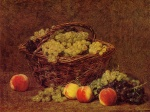 Henri Fantin Latour - paintings - Basket of White Grapes and Peaches