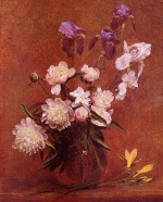 Henri Fantin Latour - paintings - Bouquet of Peonies and Iris