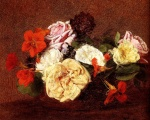Henri Fantin Latour - paintings - Bouquet of Roses and Nasturtiums