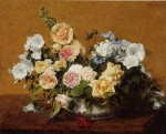 Henri Fantin Latour - Bilder Gemälde - Bouquet of Roses and other Flowers