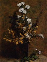 Henri Fantin Latour - Bilder Gemälde - Broom and other Spring Flowers in a Vase