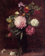 Henri Fantin Latour  - Bilder Gemälde - Flowers Large Bouquet with Three Peonies