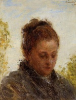 Henri Fantin Latour  - Bilder Gemälde - Head of a Young Women