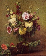Henri Fantin Latour  - Bilder Gemälde - Holly Hocks