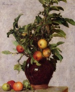Henri Fantin Latour  - Bilder Gemälde - Vase with Apples and Foliage