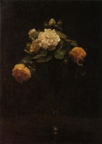Henri Fantin Latour  - Bilder Gemälde - White and Yellow Roses in a tall Vase