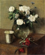 Henri Fantin Latour  - Bilder Gemälde - White Roses and Cherries