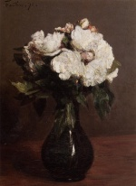 Bild:White Roses in a Green Vase