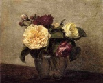 Henri Fantin Latour  - Bilder Gemälde - Yellow and Red Roses