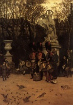 James Jacques Joseph Tissot - paintings - Beating the Retreat in the Tuileries Gardens
