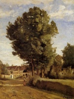 Jean Baptiste Camille Corot - paintings - A Village near Beauvais