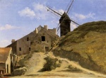 Jean Baptiste Camille Corot - paintings - A Windmill in Montmartre