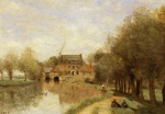 Jean Baptiste Camille Corot - paintings - The Drocourt Mill on the Sensee