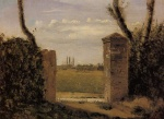 Jean Baptiste Camille Corot - Bilder Gemälde - Boid Guillaumi near Rouen (A Gate Flanked by two Posts)