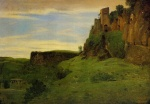 Jean Baptiste Camille Corot - paintings - Civita castelland Buildings High in the Rocks