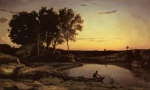 Jean Baptiste Camille Corot - paintings - Evening Landscape (The Ferryman Evening)