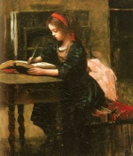Jean Baptiste Camille Corot - paintings - Young Girl Writing