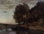 Jean Baptiste Camille Corot - paintings - Fisherman Boating along a wooded Landscape