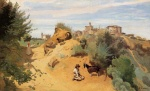 Jean Baptiste Camille Corot - paintings - Genzano Goatherd and Village