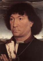 Hans Memling - Bilder Gemälde - Portrait of a Man at Prayer before a Landscape