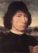 Hans Memling - Bilder Gemälde - Portrait of a Man with a Roman Coin